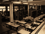 The photograph shows the reading room at the Ibero-American Institute.